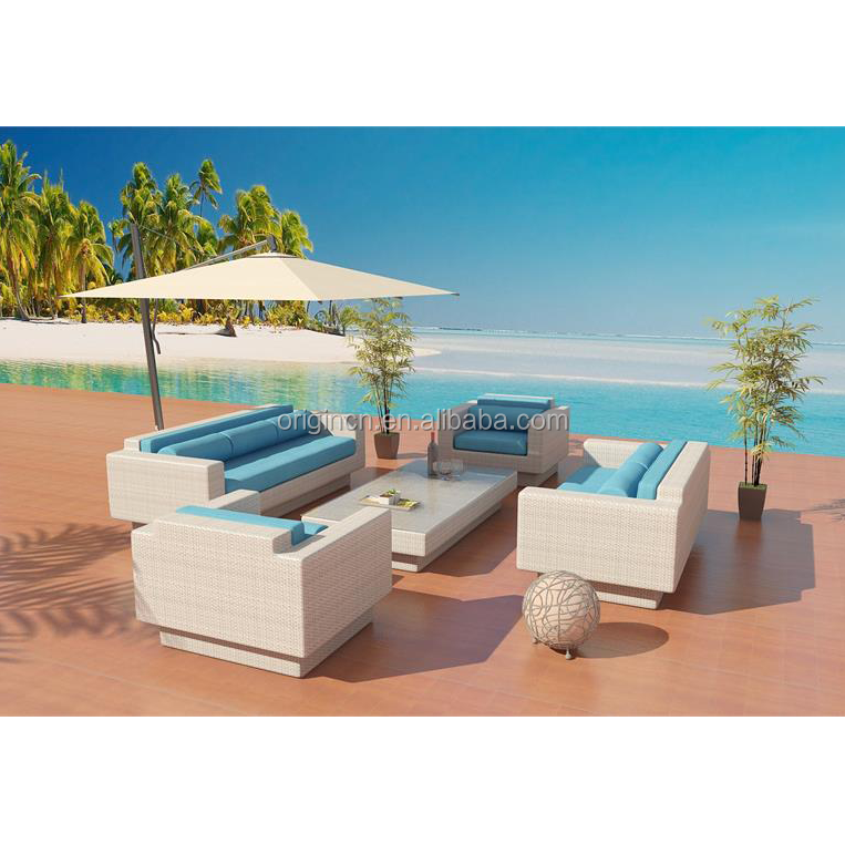 Plastic waterproof wicker woven outdoor large furniture rattan luxury classic sofa set