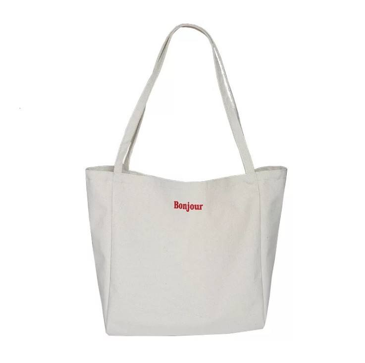 Eco Wholesale Custom Printing Embroidered Logo Plain 100% Cotton Canvas Tote Shopping Bag