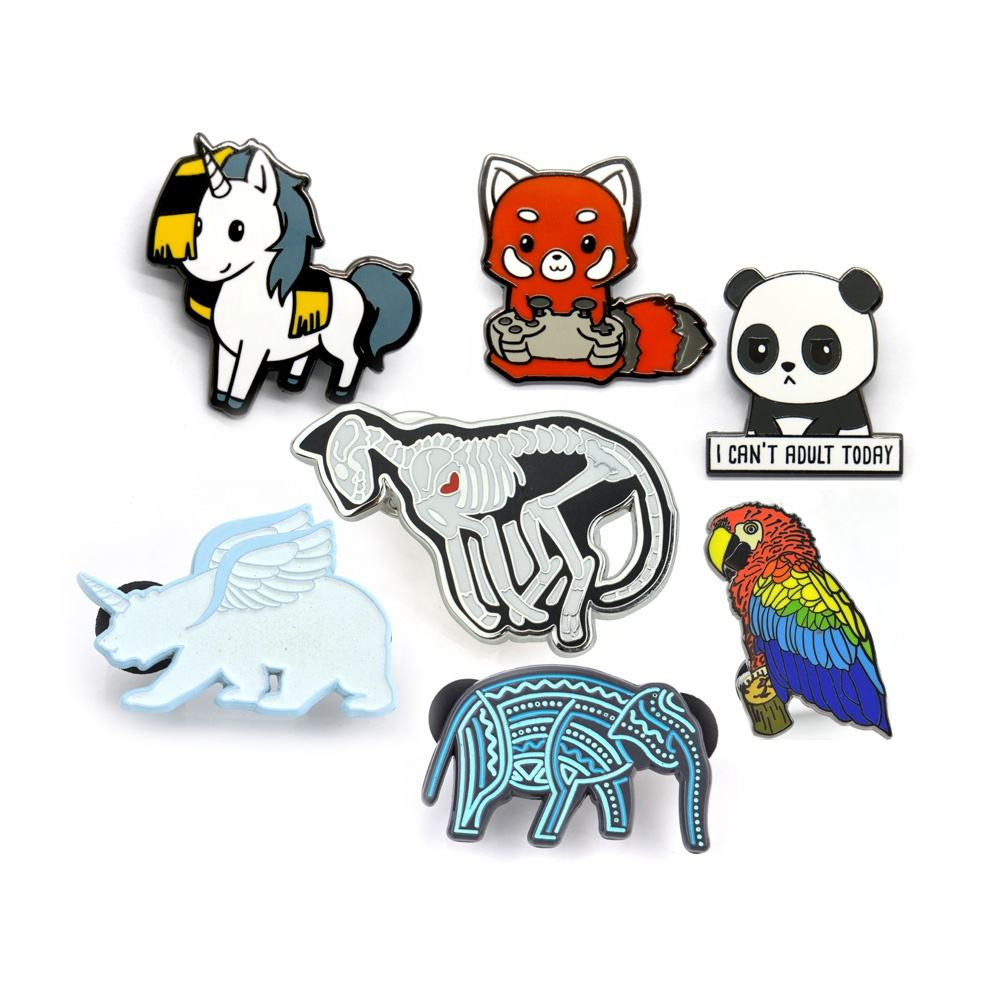 Low MOQ Custom Verpackung ODM Custom Metall Insignia Plated Silber Farbe Cute Emaille Animal Pin Badge