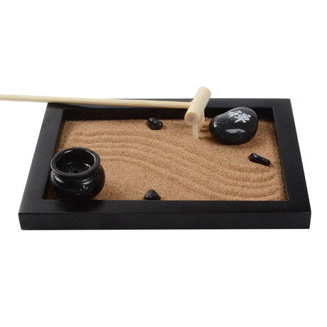 Custom wooden crafts creative meditation sand table Zen garden home gifts office decoration