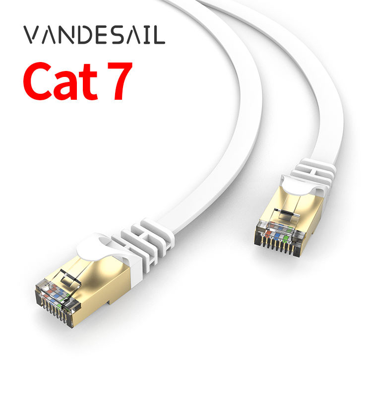 Fast 25FT 50FT 100FT Cat 7 Flat SSTP Ethernet Network Cable RJ45 Patch Cord cat7イーサネットケーブル30メートル