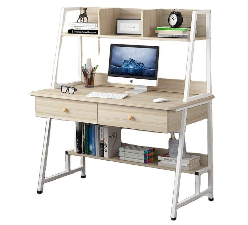 New style study desk bedroom use PC computer table with bookshelf