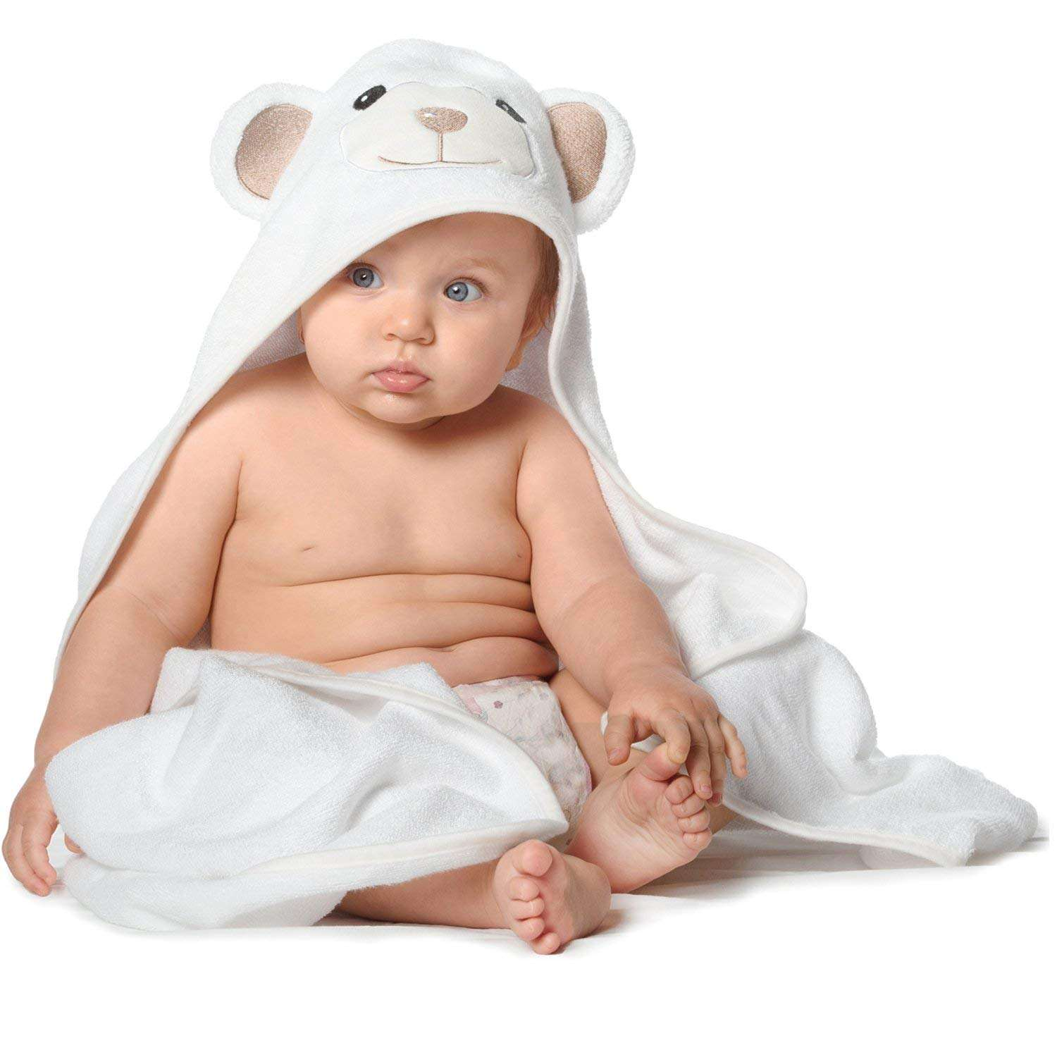 organic terry 600gsm baby bamboo hooded bath towel