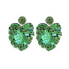 Creative Big Green Sequin Plant Palm Leaf Earrings Seed Bead Monstera Earrings