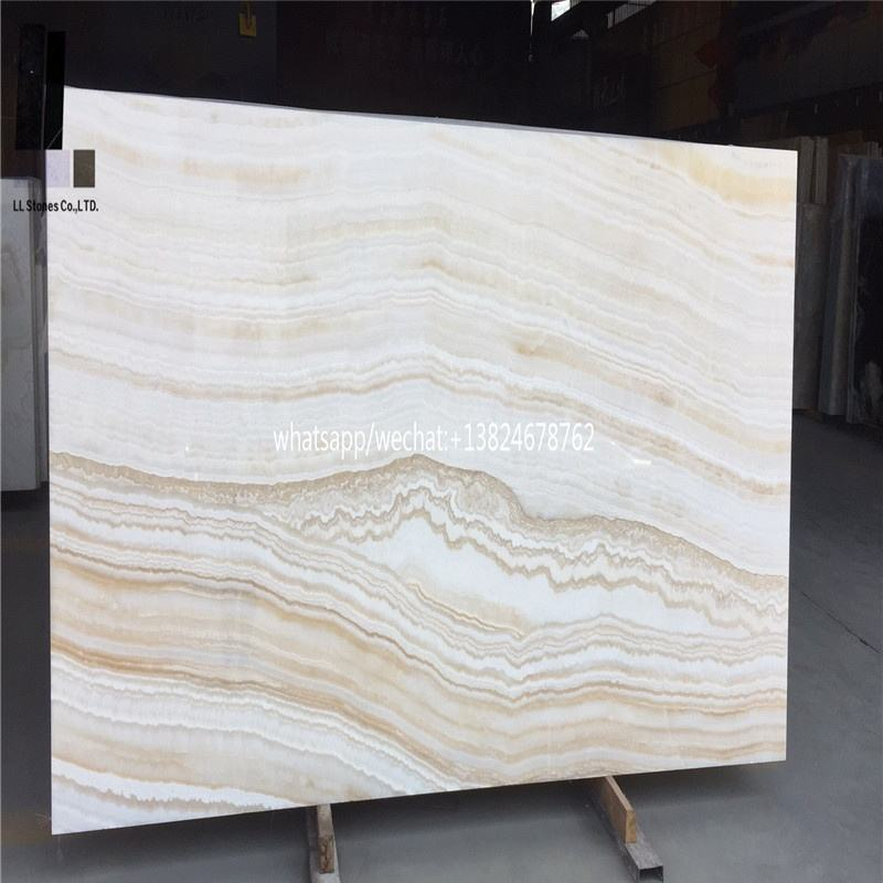 Marble tiles polished treatment high quality Stone booked matched white wood onyx translucent