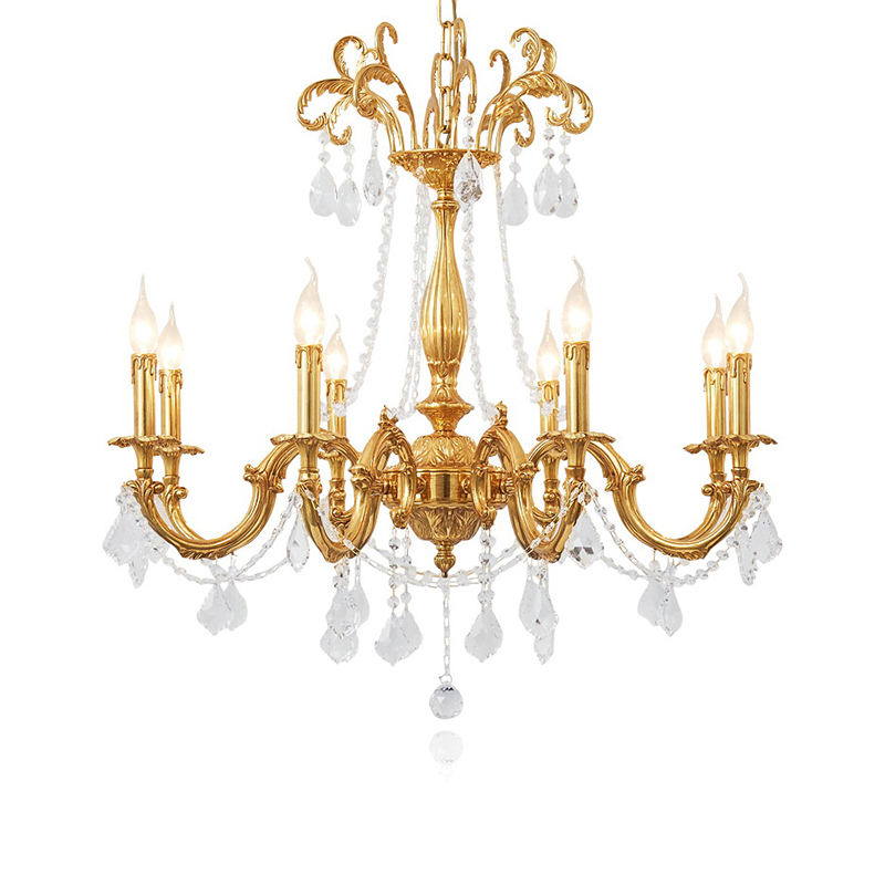 European candles crystal chandelier factory for luxury tifany lamps pendant