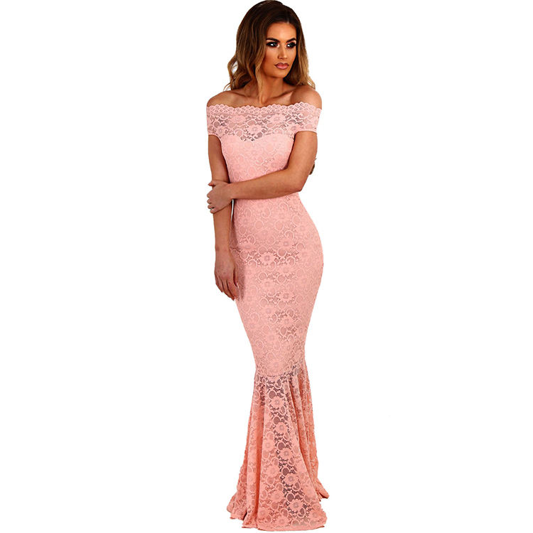 YHD69 Small Order Frauen Solid Formal Lace Maxi kleid Off Shoulder Elegantes Party kleid Lange Meerjungfrau Brautkleider Damen