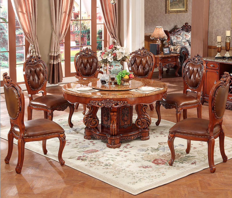 Round European Neo-classical Solid Wood Carved High-end Dining Table Cover Solid Wood Dining Table And Chair Combination Set