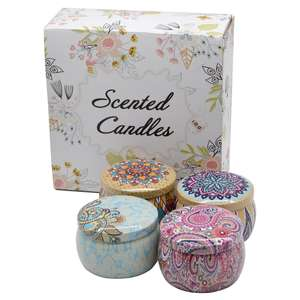 wholesale flower Jasmine lotus scented soy wax travel gift decorative aroma tin box candle
