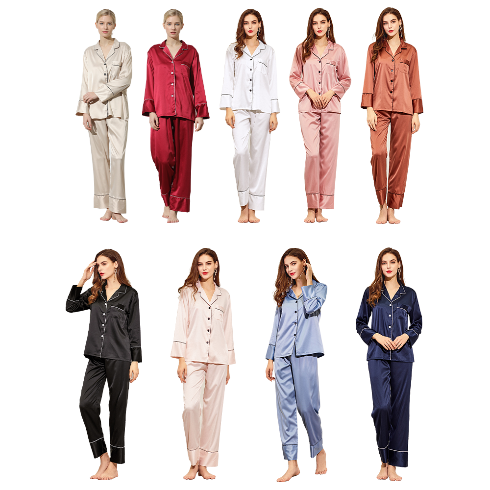 1piece customization ladies silk pajama women set long satin ladies sleepwear Lovers pajamas set