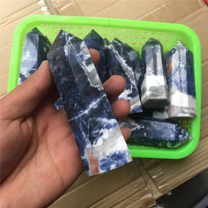 Wholesale Natural Quartz Crystal Wands Hand Carved Healing Sodalite Stone Single Terminated Towers For Decoration