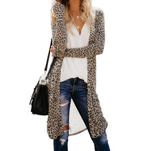 Autumn Fashion Casual Long Sleeve Long Cardigan Leopard Print  Women Cardigan