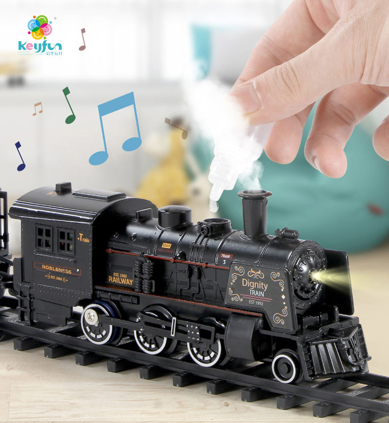 Classical alloy steam electric railway set model alloy train set toy simulation smoke locomotive slot toy with light & sound