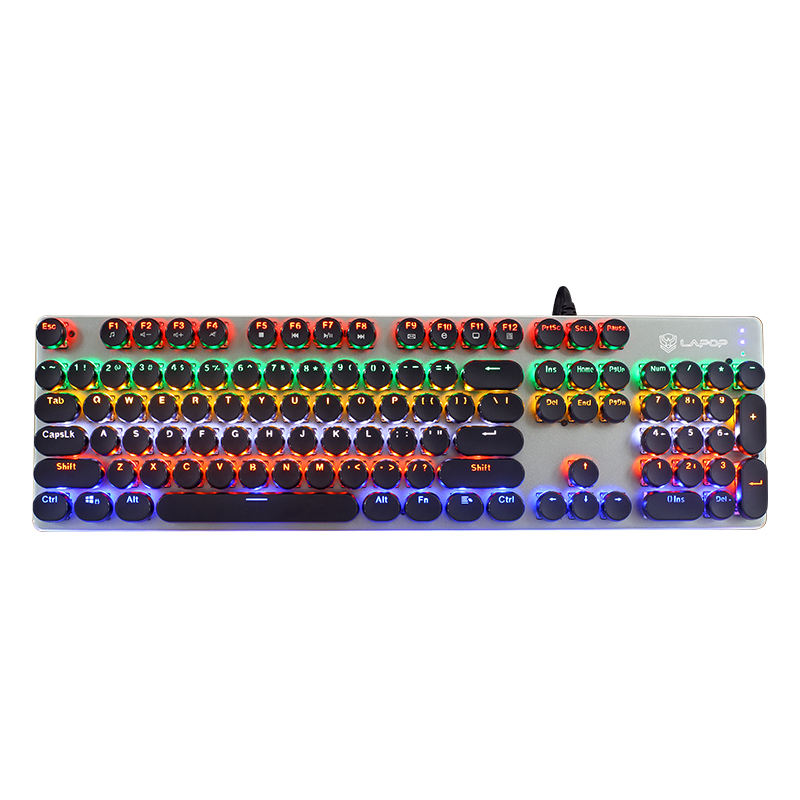 RGB Mechanical Keyboard 104 Retro Steampunk Round Keycaps Typewriter Keyboard Gaming