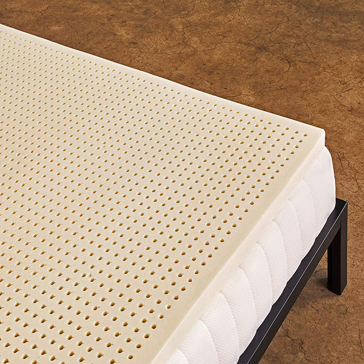 Hypo-allergenic king size zipper 100 natural latex mattress toppers beds with removable cover