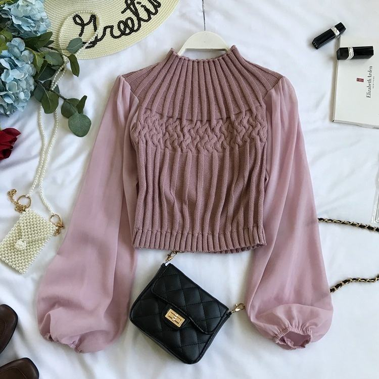 B51417A Newest lady fancy loose round collar long sleeve patchwork slim knitted blouse