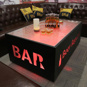 KTV table with stylish LED lights and bar club with customizable logo furniture