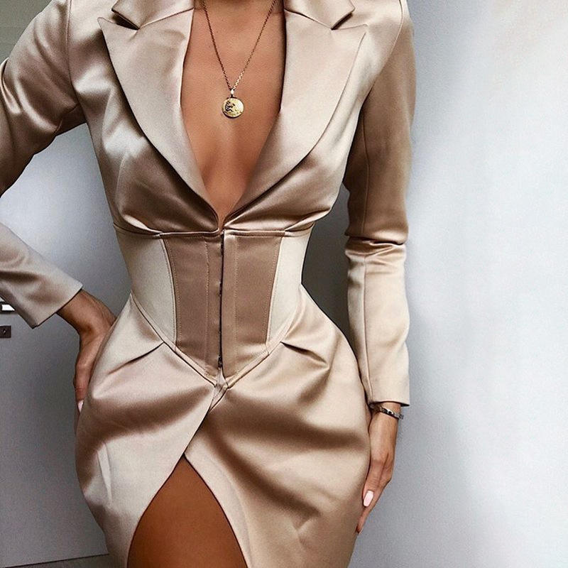Elegant Women Clothes V Neck Long Sleeve Blazer Dress Office Sexy Club Bodycon Dresses Ladies Party Suit Y12283