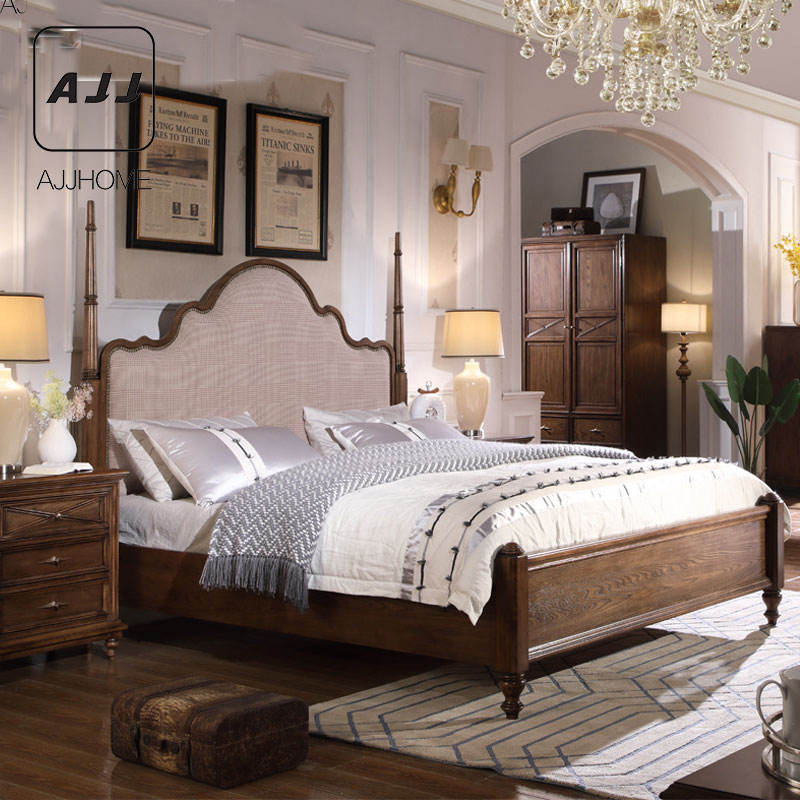 AJJ Light luxury American bed simple European style simple beautiful fabric bedroom bed solid wood double bed TY09