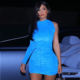 8086 Kylie jenner Ruched One Shoulder Dress 2019 women blue velvet mini dress Pile collar bodycon vestidos available