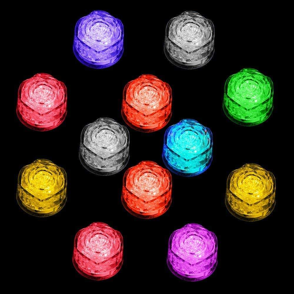 Water Sensor Multi Colors Flashing Rose Flower Shape Led Ice Cubes Event Party LED Luminous For Wedding