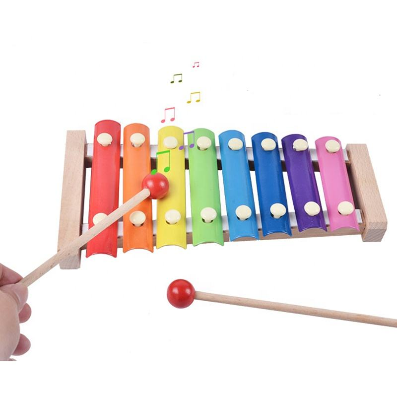 Wooden educational 8 tones musical instrument toy wooden xylophone