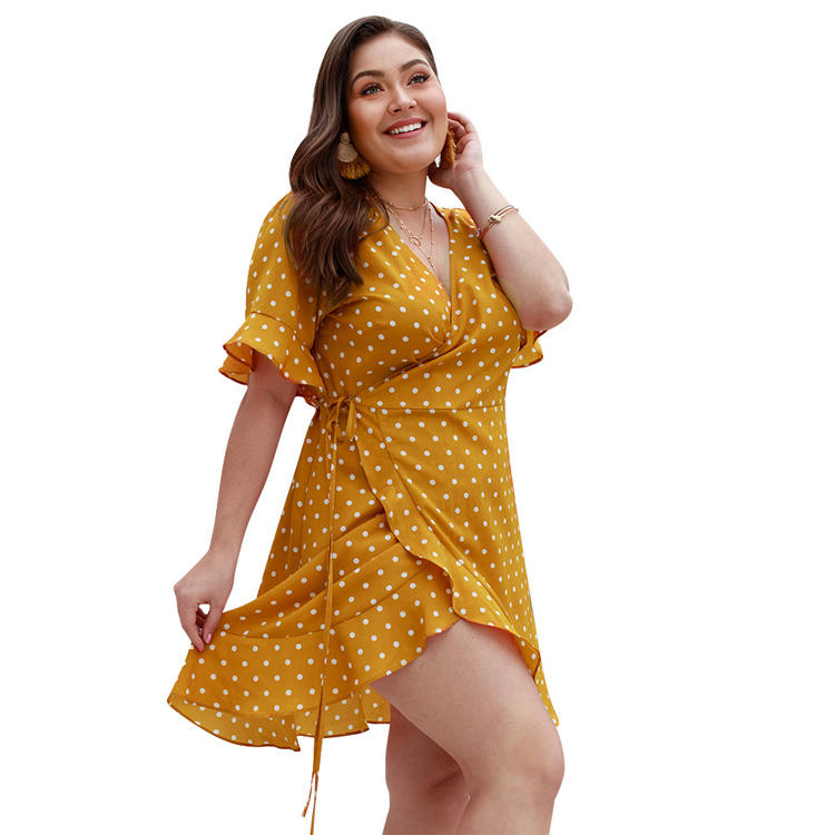 Wholesale Summer New Design Women Casual Sexy Clothing Plus Siz yellow polka dot Dress