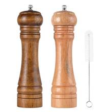 Classic Adjustable Ceramic Rotor Manual Oak Wooden Salt and Pepper Mills Shakers with Cleaning Brush
