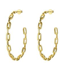 Fashion Jewelry Pure Form Link Chain Hoop Earrings  Big Circle Hoops Gold Color Earings Aros Orecchini Wholesale EF181083