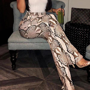 Yushang Kleding Snake Printing Animal patroon Hot Synthetisch Leer Flare Trompet Broek high street style F1609