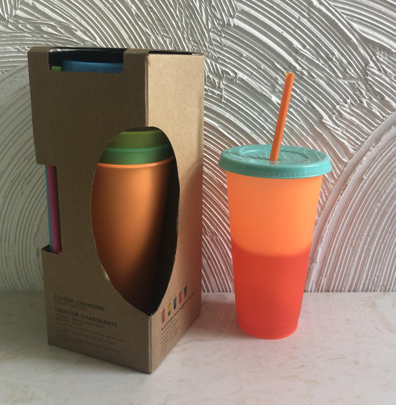 New Product 2020 plastic changing color cup with lid and straw Reusable temperature change color plastic tumbler Magic Mug