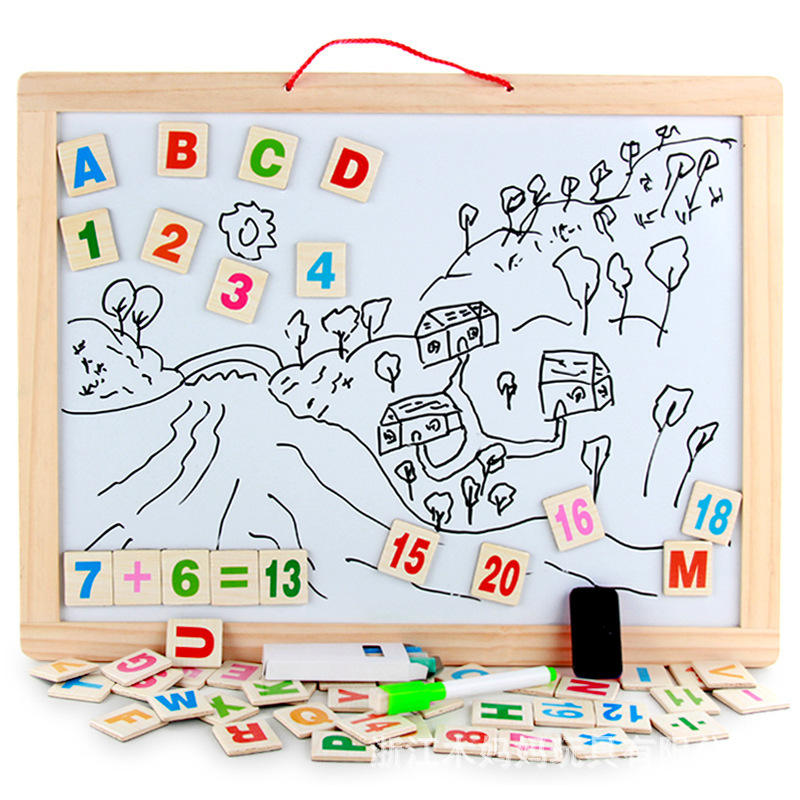 Wooden Drawing Board Multi-Function Double-Sided Hanging Wooden Magnetic Children Drawing Board Sketch Writing Board Set3-7-Year
