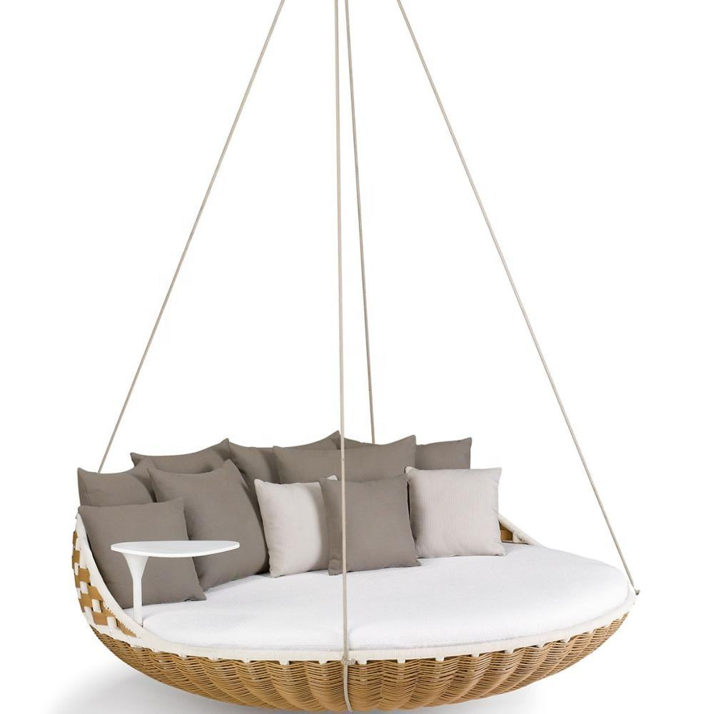 Modern Outdoor Furniture Hanging Daybed with PE Rattan and Pure Foam,SWINGREST NATURAL SUSPENDED SEAT