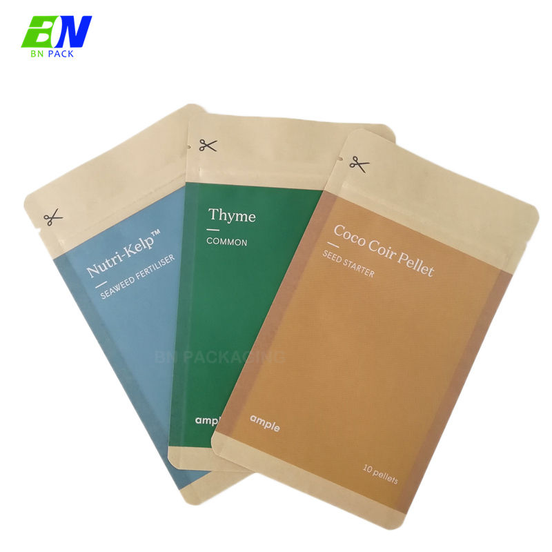 ECO friendly custom printed biodegradable food package amber leaf tobacco pouch tea packaging bag