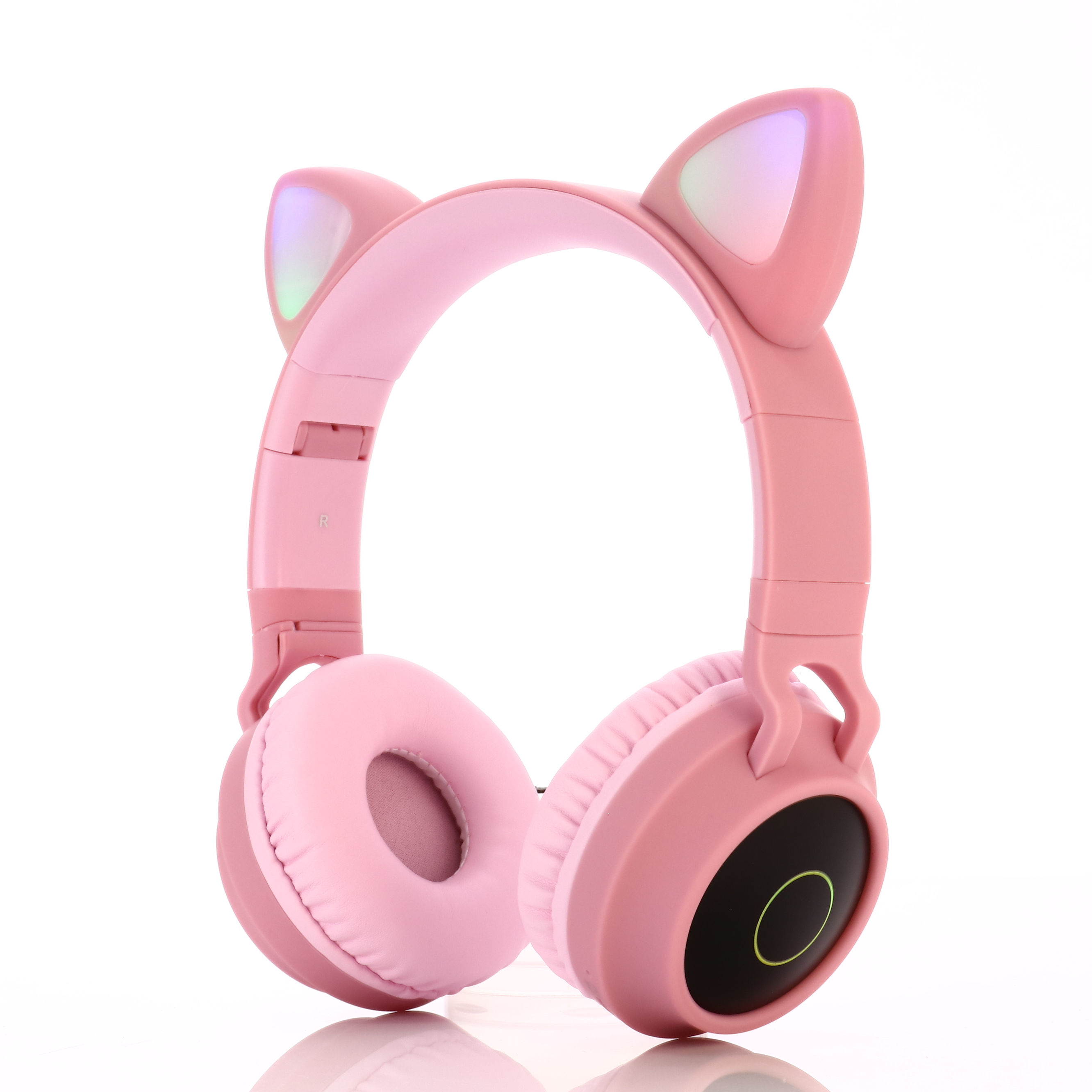 Newest AS-BT028 Cute Cat Ear Wireless Headphone Blue-tooth 5.0 With Microphone And LED Light Headset Cute Cat Headphones For Gir
