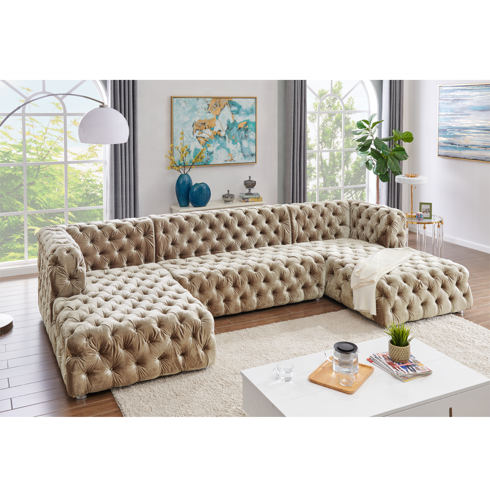 American style sofa velvet fabric button tufted u shaped sectional sofa