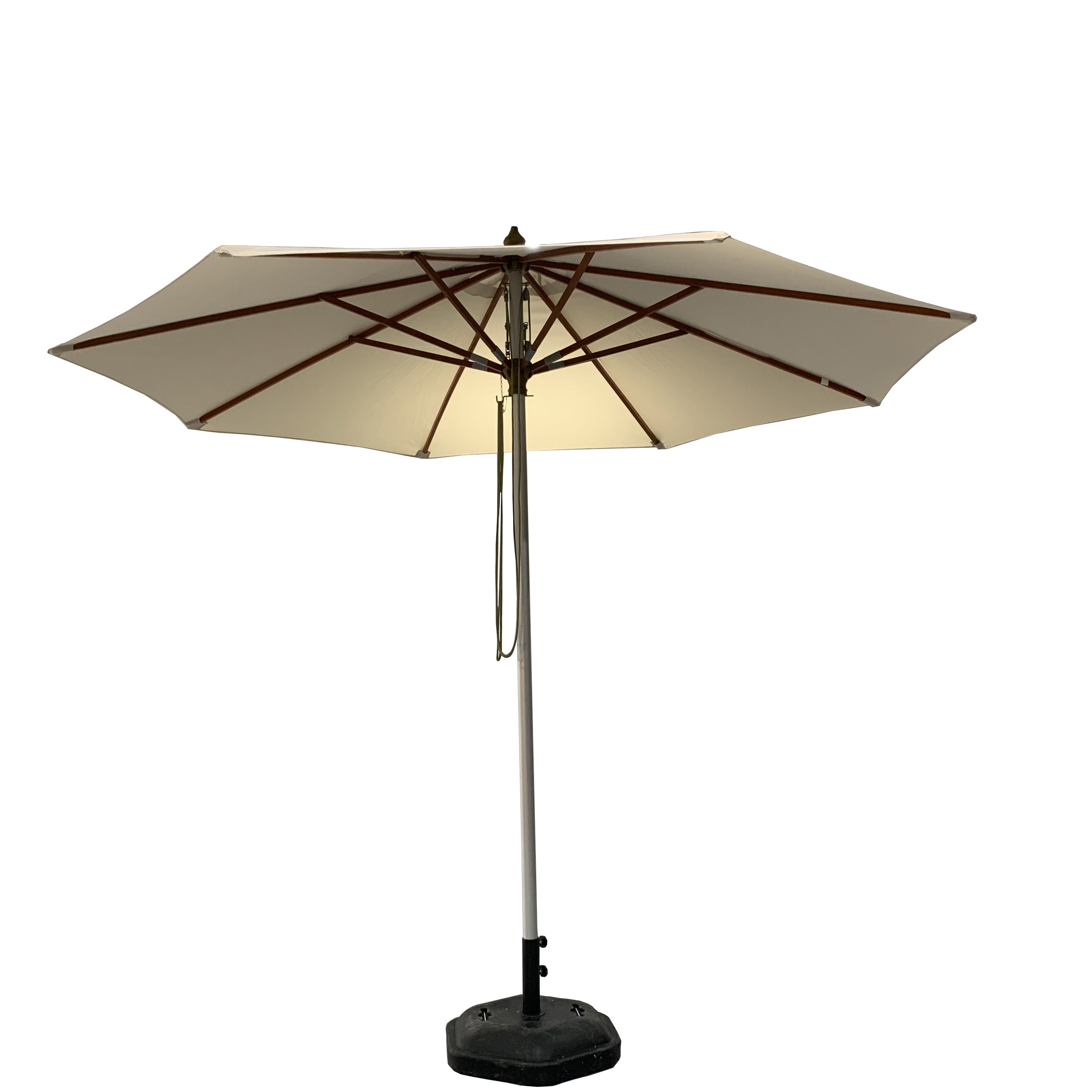 Swimming poolside Wooden Pulley Umbrella parasol