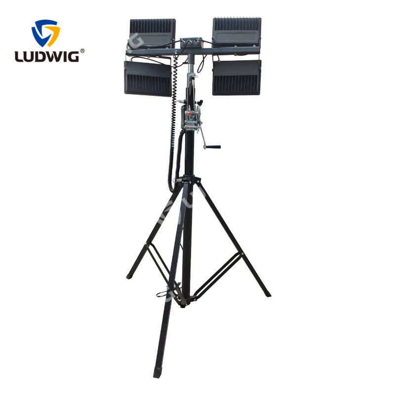 Tripod LED balloon light tower with stainless mast