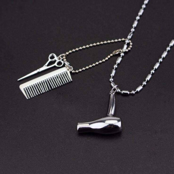 Fashionable personality Tony necklace hair dryer comb scissors barber pendant
