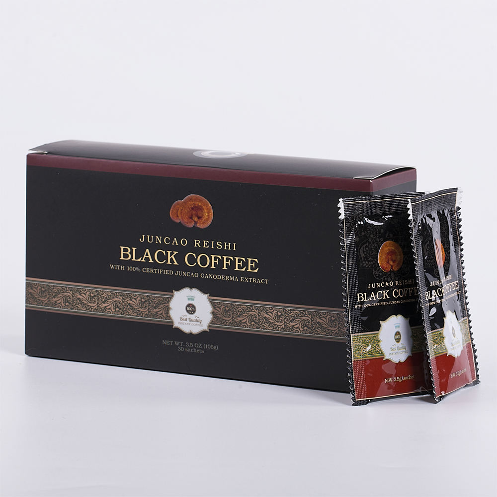 100% Certified Organic Instant Black Coffee Powder (NO SUGAR) Contain Ganoderma Lucidum Extract (Pack of 30)