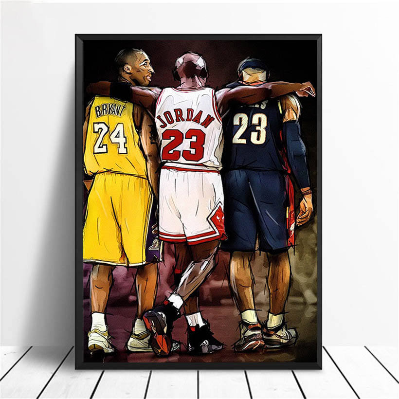 Canvas Print Basketball Art Poster Prints NBA Legends Lebron James, Michael Jordan & Kobe Bryant Canvas Artwork