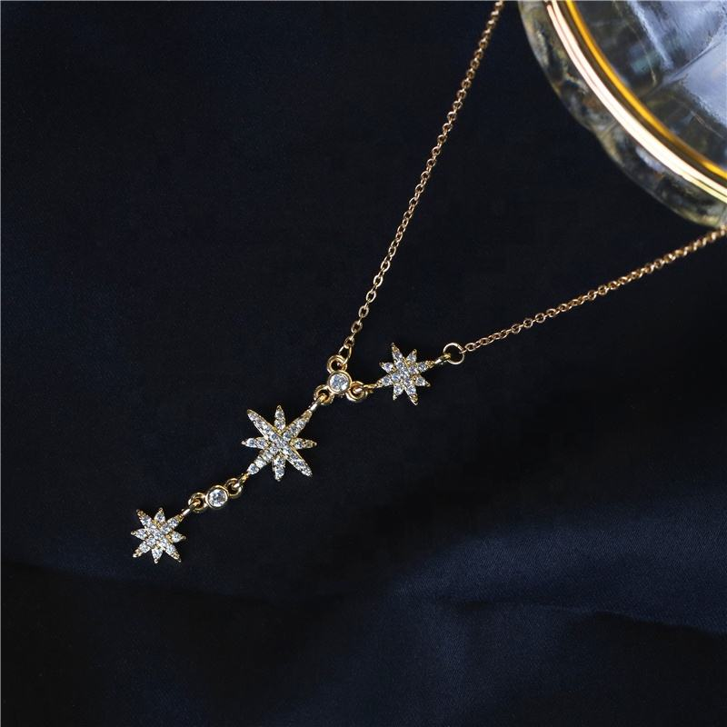 Wholesale zirconia star necklace 18k gold plated long chain pendant jewelry choker for women