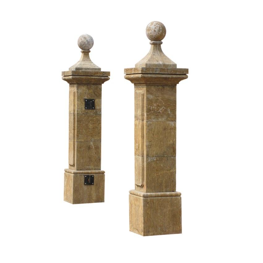MCS163 Chinese New Designs Gold Yellow Garden Stone Column