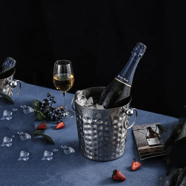 Promotion metal champagne beer Ice bucket custom bulk china luxury double walled stainless steel ice bucket