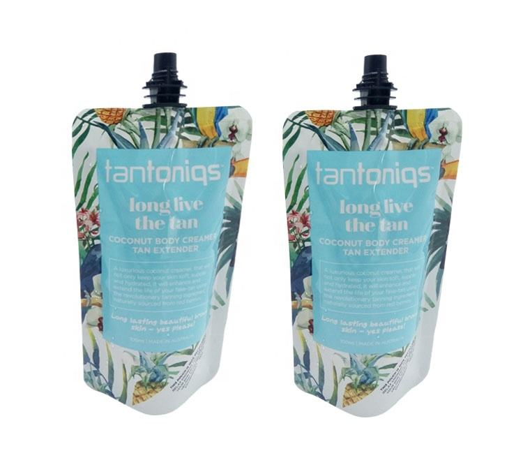 Custom printed ECO friendly plastic spout doypack bags for cosmetic liquid soap