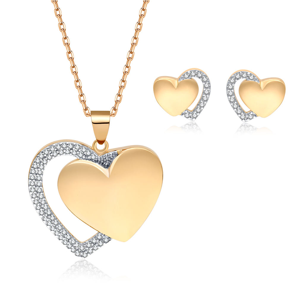 10 years factory free sample 18K gold filled heart shape women bridal jewelry necklace and earring set joyeria