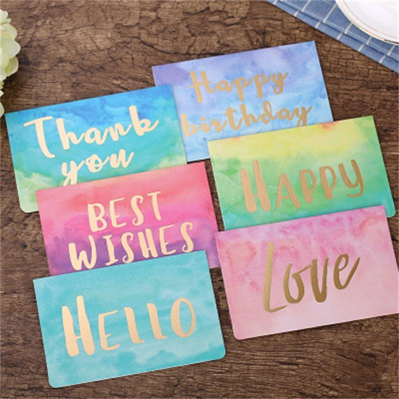 Hot Sale Originality Christmas New Year Blessing Folding Welcome Cards Watercolor Birthday Wishes Blank Thank You Greeting Card