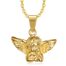 Hot selling casting decoration shiny gold plating metal custom design angel baby wing pendant necklace