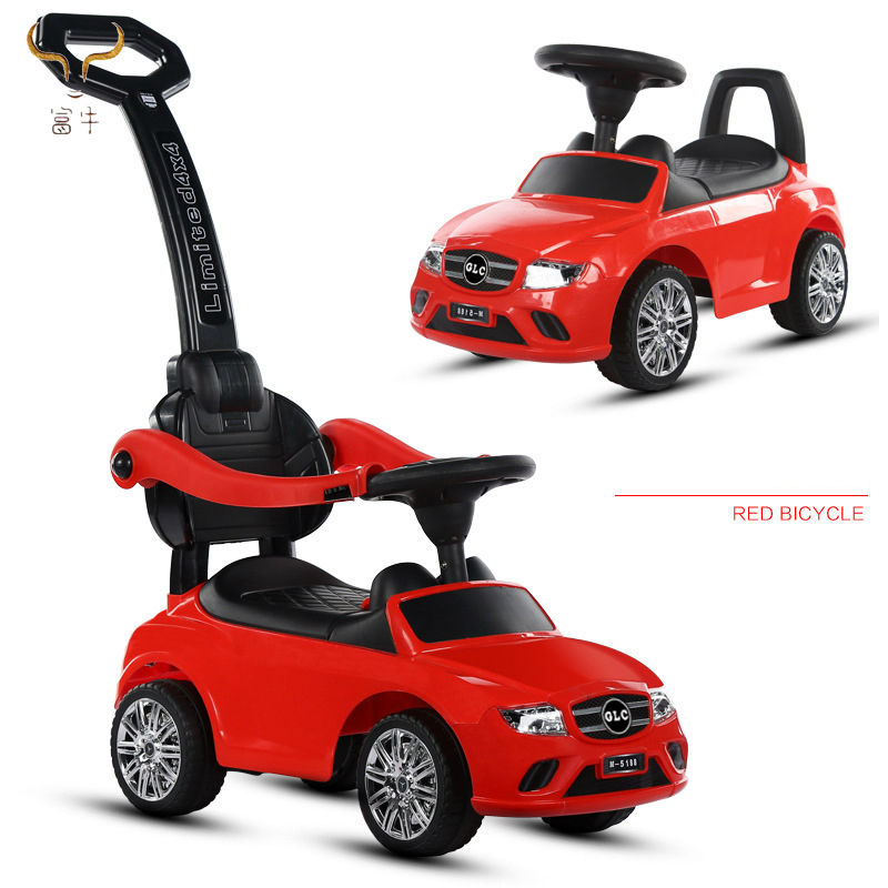 High quality plastic mini car / Children toy stroller walker pushing bar kids ride on car 3 in 1 deluxe mega car with horn music