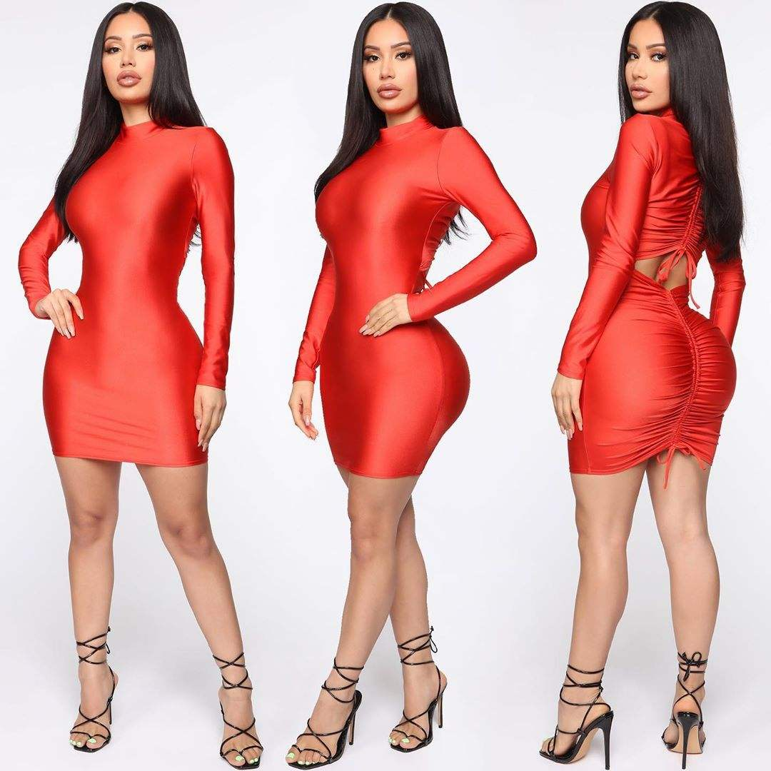 Wholesale Red High Neck Long Sleeve Back Ruched Slit Bodycon Sexy Evening Midi Party Dress